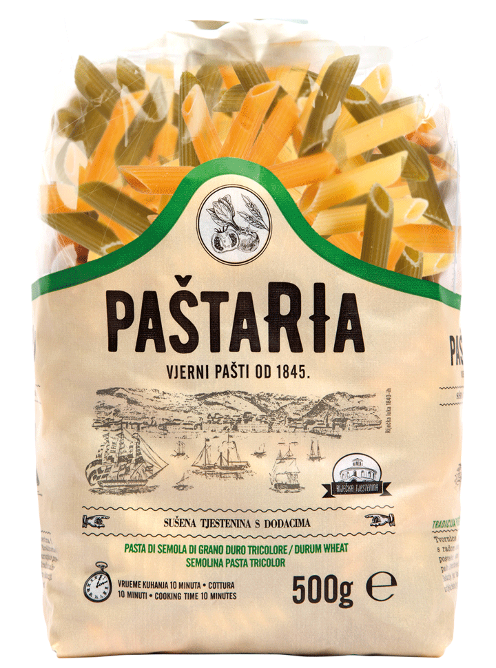 Penne tri-color packaging