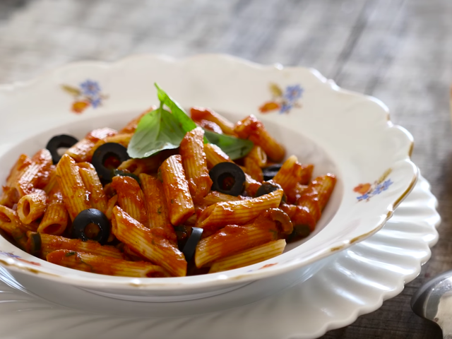 Red pasta with olives